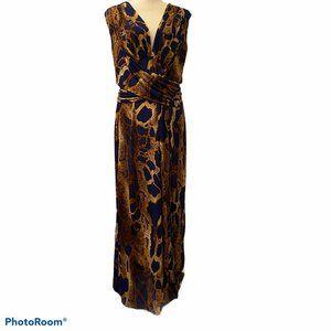 Venus Brown & Blue Python Snake Print Maxi Dress